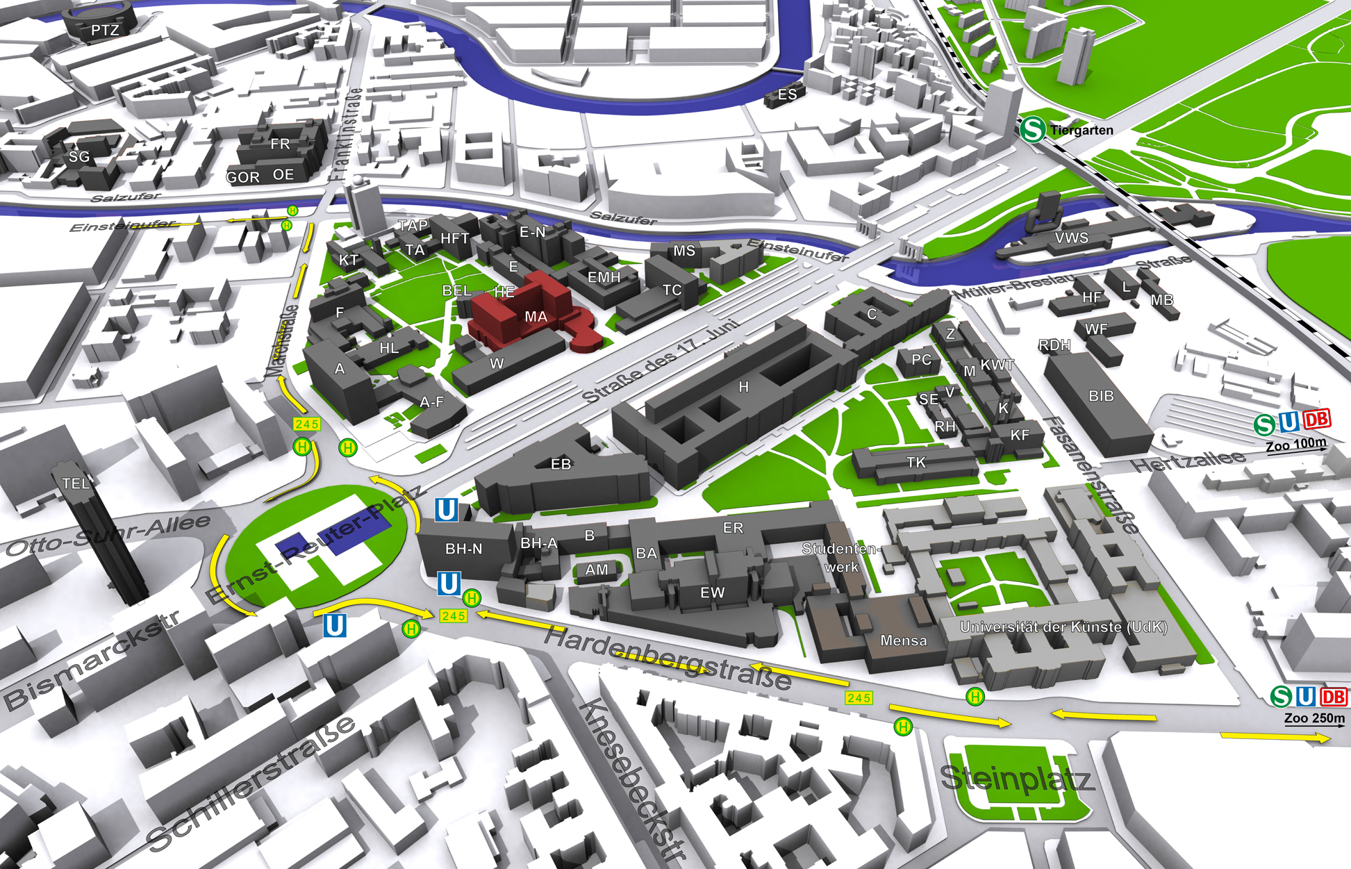 Map of the TU Berlin Campus